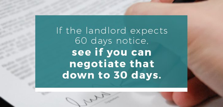 giving notice at the end of your lease