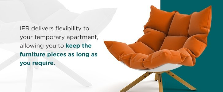 Renting furniture for only a few months header with orange chair